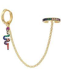 Gabi Rielle Gold Over Silver Cz Ear Cuff - Metallic