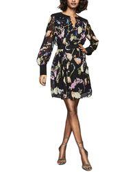 Reiss Finn Print Dress - Black