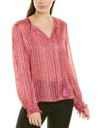 10 Crosby Derek Lam Floral-print Tassel Tie Long-sleeve Blouse - Pink