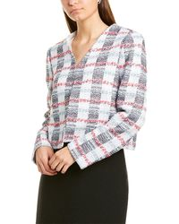 St. John Striped Tweed Wool-blend Jacket - Blue