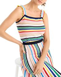 J.Crew Ruffle-strap Tank Jumper In Rainbow Stripe - Blue