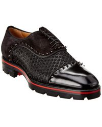 Christian Louboutin Champignac Leather & Suede Oxford - Black