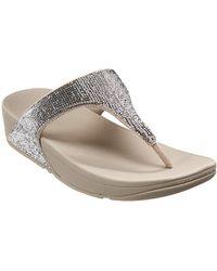 2b3752b2f0084 Fitflop Banda Micro-crystal Toe Post Sandal in Metallic - Lyst