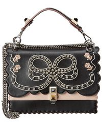 Fendi - Kan I Bow Embroidery Leather Shoulder Bag - Lyst