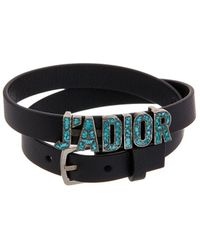 Dior J'a Double-loop Leather Bracelet - Black