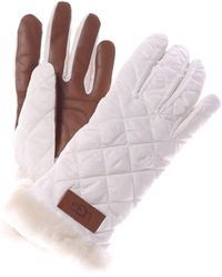 UGG Quilted All Weather Leather Tech Gloves - White
