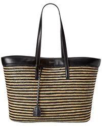 Saint Laurent E/w Striped Raffia & Leather Shopper Tote - Black