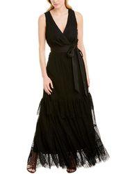 Diane von Furstenberg Rumi Petal Lace Wrap Gown - Black