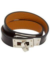Hermès Palladium Kelly Double Tour Bracelet - Black
