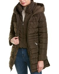Laundry by Shelli Segal Fit & Flare Puffer Coat - Green