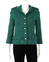 Chanel Tweed Wool-blend Jacket, Size Eur 38 - Green