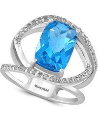 Effy Fine Jewellery 14k 4.51 Ct. Tw. Diamond & Blue Topaz Ring