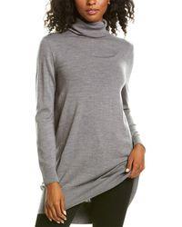 Lafayette 148 New York Turtleneck Wool Tunic - Grey