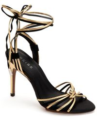 Reiss Cassidy Suede & Leather Sandal - Black