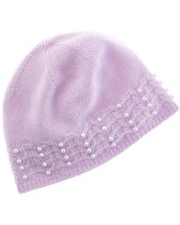 Forte Pearl Studded Cashmere Hat - Purple