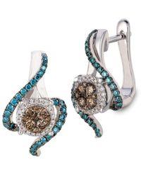 Le Vian 14k 0.72 Ct. Tw. White, Chocolate & Blue Diamond Earrings