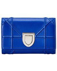 Dior Ama Leather Tri-fold Wallet - Blue