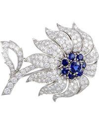 Heritage Tiffany & Co. Tiffany & Co. Platinum 10.00 Ct. Tw. Diamond & Sapphire Brooch - Multicolor