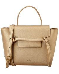 Céline Nano Belt Bag Leather Tote - Natural