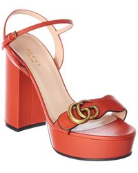 Gucci GG Leather Platform Sandal - Red