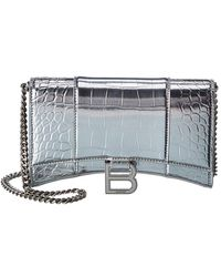 Balenciaga Hourglass Croc-embossed Leather Wallet On Chain - Multicolor