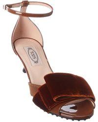 Tod's Tod?s Bow Ribbon Detail Patent & Velvet Sandal - Red