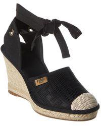 Fendi Ff Motif Canvas Ankle Wrap Sandal - Black