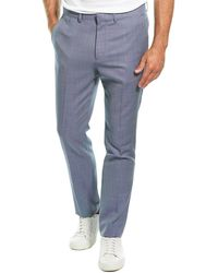 Theory Jake Cross Stitch Wool Pant - Blue