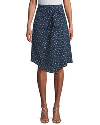 Jill Stuart Tali Ruched Printed Skirt - Blue