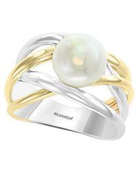 Effy Fine Jewellery Silver & 14k 9mm Pearl Ring - Metallic