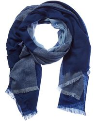 Badgley Mischka Lightweight Colorblock Merino Wool Long Scarf - Blue