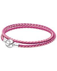 PANDORA Pink & Silver Braided Double Leather Charm Bracelet