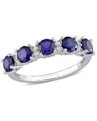 Rina Limor Silver 1.62 Ct. Tw. Gemstone Half-eternity Ring - Blue