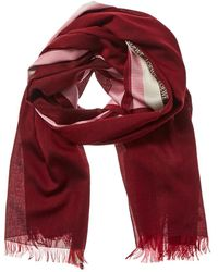 Loewe Stripe Silk, Wool & Cashmere-blend Scarf - Red