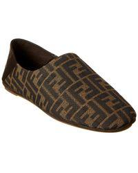 Fendi Ff Leather-trim Slipper - Brown