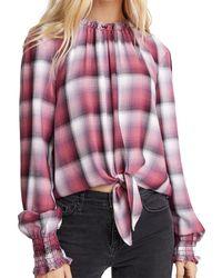 Bella Dahl Tie Front Smocked Top - Pink