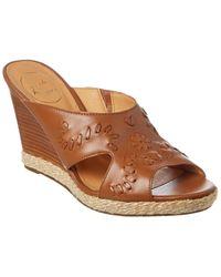 Jack Rogers Sophia Leather Wedge Sandals - Brown