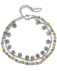 Samuel B. Sterling Silver Beaded Charm Bracelet - Metallic