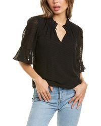 Rebecca Taylor Dot Clip Silk-blend Blouse - Black