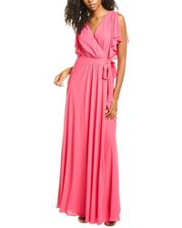 Halston Cold-shoulder Drapey Back Gown - Pink