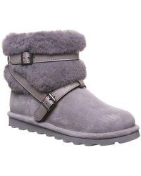 BEARPAW Kiera Leather Bootie - Grey
