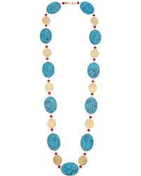 Kenneth Jay Lane 22k Plated Coin Necklace - Blue