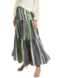 Tory Burch Striped Tiered Maxi Skirt - Blue