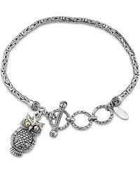 Samuel B. 18k Over Silver Owl Charm Bracelet - Metallic