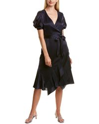 Diane von Furstenberg Ansley Wrap-effect Plissé-chiffon And Satin Dress - Blue