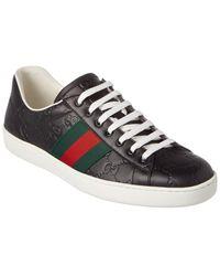 Gucci Ace Signature Leather Trainer - Multicolour