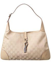 Gucci Light Brown GG Canvas Jackie Hobo Bag