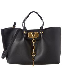 Valentino V-logo Escape Medium Grainy Leather Tote - Black