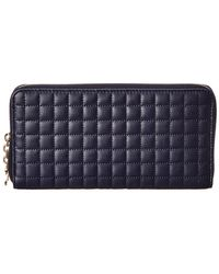 Céline Large C Charm Quilted Leather Zip Around Wallet - Blue