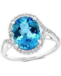 Effy 14k 6.14 Ct. Tw. Diamond & Blue Topaz Ring